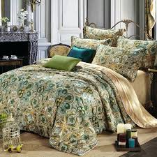 olive green bedding and gold style tribal paisley print abstract design exotic luxury cotton full queen size sets comforter