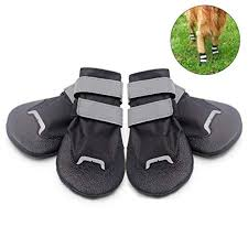 Okdeals Anti Slip Dog Shoes Waterproof Paw Protector Lightweight Dog Boots With Reflective Straps Black In 3 Sizes