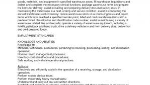 Skilled Laborer Resume Formidable Good Resume Warehouse Job With