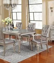 glamorous metallic platinum 7pc dining table set in portland oregon