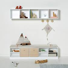 large wall hung shelving unit by oliver furniture shown with matching floor unit
