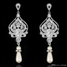vintage style long clear crystal rhinestone pearl chandelier earrings silver swirl open work statement bridal jewelry