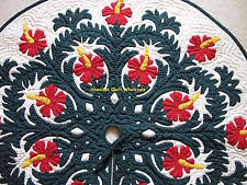 Hawaiian Quilt | eBay & Hawaiian quilt CHRISTMAS TREE SKIRT 100% hand quilted/ appliquéd Hibiscus 42 Adamdwight.com