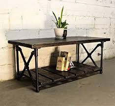 Amazon.com: Furniture Pipeline Rustic Rectangle Coffee Table, Metal ...
