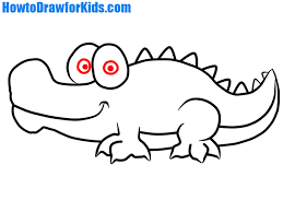 crocodile drawing for kids. Interesting Crocodile How To Draw A Cartoon Crocodile In Crocodile Drawing For Kids D