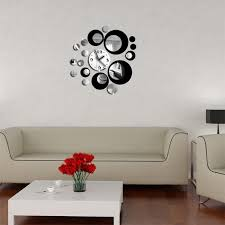 Small Picture Red And Black Circle 3d Crystal Clock Modern Design Luxury Wall