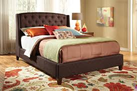 wood and upholstered beds. Upholstered Bed Low Profile Brown With Exposed Wood Bun Feet 300247 Color And Beds E