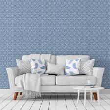 Florale Ornamenttapete Damast Muster Klassisch In Blau Design