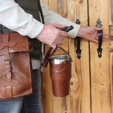 leather tumbler sleeve for 30 ounce yeti rambler cup one finger carrying sleeve by handle heading