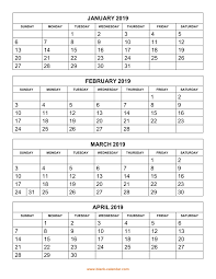 printable 6 month calendar 2019 free download printable calendar 2019 4 months per page 3 pages