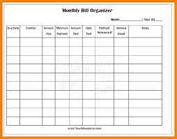 Excel Monthly Bill Tracker Monthly Bill Template Tracker Excel Printable Spreadsheet Free