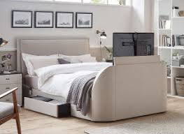 tv bed. alexander oatmeal fabric tv \u0026 sound bed frame tv c