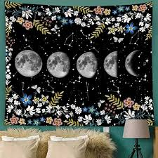 bonsai tree moon tapestry
