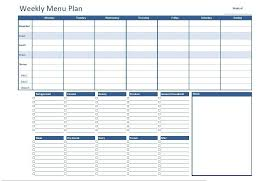 weekly menue planner free excel weekly menu plan template dowload