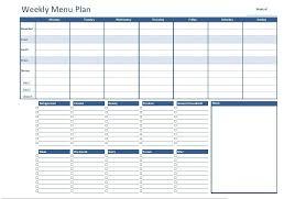 Free Excel Weekly Menu Plan Template Dowload