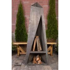 ember haus night torch steel wood burning outdoor fireplace reviews wayfair