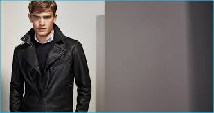 bo develius rocks a black nappa leather biker jacket from massimo dutti s personal tailoring collection