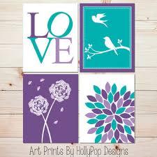 Purple Turquoise Wall Decor Modern Nursery Decor Set Of 4 Art Prints Floral  Burst Dandelion Birds