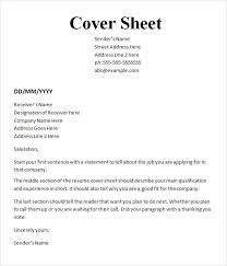 Cover Sheet For Resume Enchanting Cover Sheet Resume And Cover Letter Resume And Cover Letter