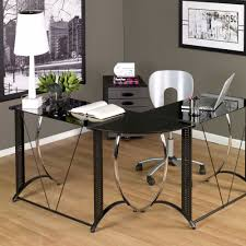 glass office desk ideas using black glass l shape writing desk combined with chrome metal base