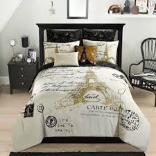 Glamorous Gold, Black And White (8) Piece Full Paris, Eiffel Tower  Comforter Set