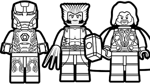 Print coloring pages & activities for kids. Lego Iron Man And Lego Wolverine Lego Thor Coloring Book Superhero Coloring Marvel Coloring Avengers Coloring