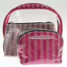 item 2 victoria s secret cosmetic bag trio makeup case set clear pink glitter stripe victoria s secret cosmetic bag trio makeup case set clear pink