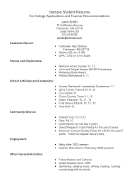 Sample Student Resume For College Application Free Resume