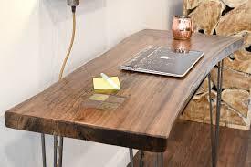 reclaimed wood live edge slab desk