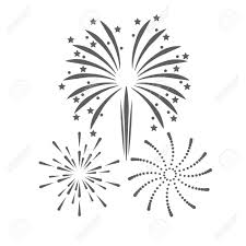 花火の祭典の爆発アイコン分離しシルエットのイラスト黒と白の色ベクター グラフィック
