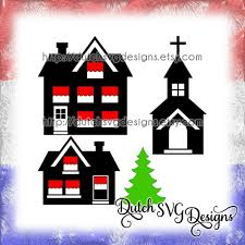 Church Svg Designs Cutting File Houses Church And Christmas Tree In Jpg Png