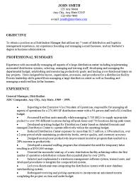 resume objectives for managers distribution manager executive resume example