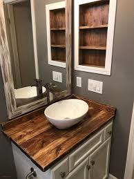 top result diy wooden bathroom vanity new diy rustic wood countertop and vessel sink bathroom makeover