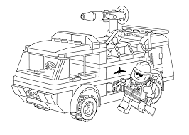 Small Picture Lego firetruck with fireman coloring page for kids printable free