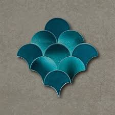 fish scale turquoise handmade ceramic tile