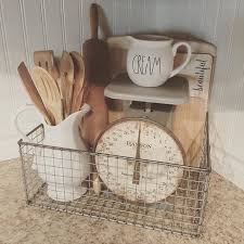 decor kitchen kitchen: farmhouse decor ideas white porcelain kitchen scale rusty wire basket vintage cutting boards wooden spoons and a rolling pin more