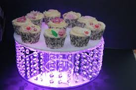 details about large glass crystal wedding cake stand fitted lights mirror base diamante