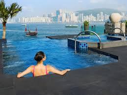 An infinity pool at the Intercontinental Hotel, Hong Kong ...