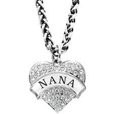 mother s day gift for nana engraved nana crystal adorned heart shaped pendant wheat chain necklace nana