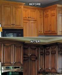 before and after faux finish on the kitchen cabinets