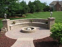 round stone plantar with bench | Exterior, Very Popular Round Fire Pit With Paver  Stone  Backyard Patio DesignsPatio ...