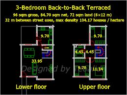 back to back house floor plan 6 meters wide and 10 meters long
