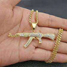 Check out our iced out broken heart pendant real gold selection for the very best in unique or custom, handmade pieces from our shops. Hip Hop Rhinestones Paved Bling Iced Out Gold Silver Color Stainless Steel Ak 47 Gun Pendants Necklace For Men Rapper Jewelry Pendant Necklaces Aliexpress