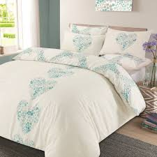 dreamscene duvet cover with pillow case reversible lizzie hearts bedding set duck egg blue double on on