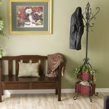 Coat Rack With Storage Baskets Amazon SEI Metal Scroll Hall Coat Tree with 100 Rattan Storage 44
