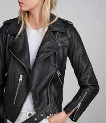 allsaints women s black balfern leather