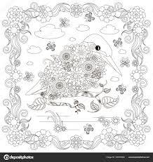 Monochroom Doodle Hand Getekende Ijsvogel Wolken Bloemen Frame
