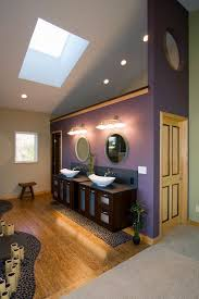 purple vessel sinks with asian bathroom and bamboo bath bathroom color dark stained wood vanity double vanity frosted glass green mixture of materials