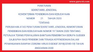 Check spelling or type a new query. Persesjen Nomor 21 Tahun 2020 Kemdikbud Tentang Juknis Bsu Untuk Guru Dan Tenaga Kependidikan Non Pns Info Pendidikan Terbaru