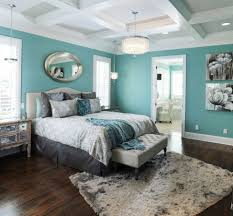 Bedroom: Outstanding Turquoise Accents Wall Painted Of Bedroom Design With  Pleasant Master Bed And Comfy